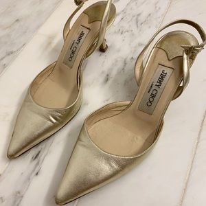Gorgeous Gold Jimmy Choo closed toe shoes size 35
